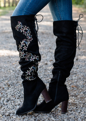 Floral Over the Knee Boots Black CLEARANCE