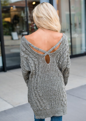 So Smitten Knit Sweater Tunic Olive CLEARANCE