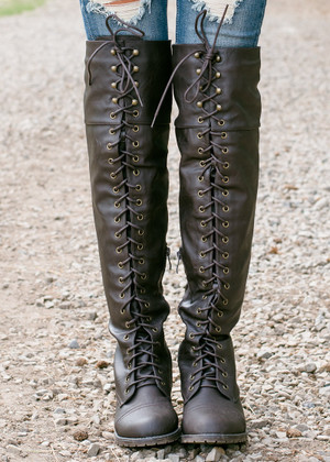 Tall Knee High Combat Boots Brown