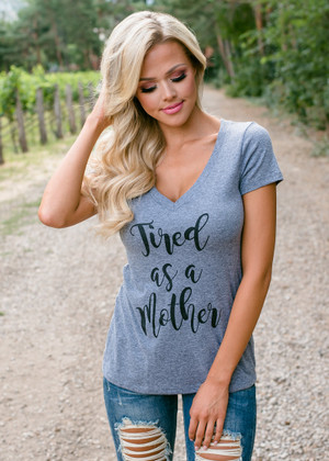 Tired as a Mother Cap Sleeve Top Gray