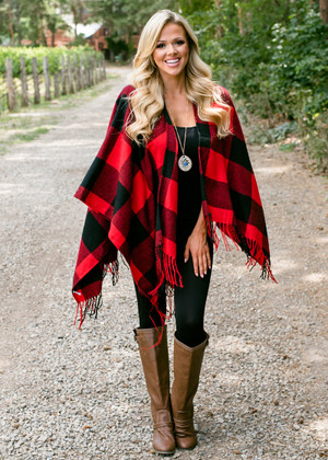 Wrap Me Up In Love Checkered Fringed Shawl Red/Black