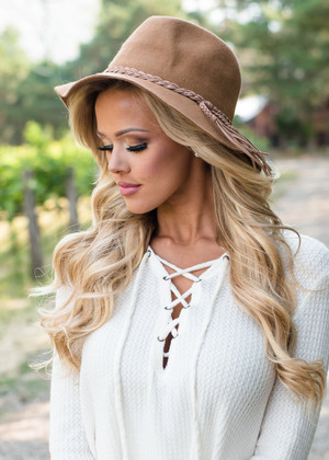 Tan Braided Hat CLEARANCE