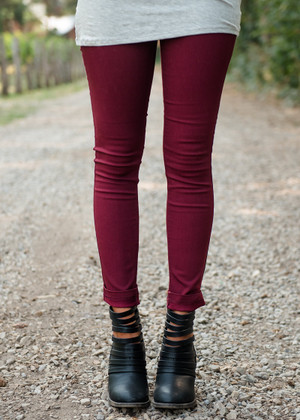 Basic Skinny Jeggings Burgundy