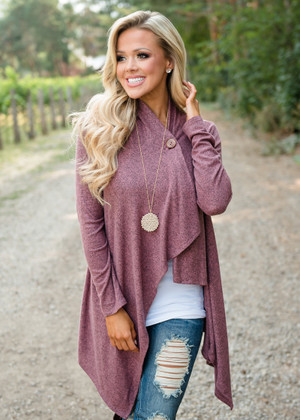 Wrap Asymmetrical Single Button Cardigan Mauve