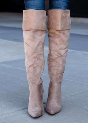 Tall Fold Over Suede Boots Taupe