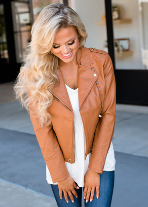 The Perfect Faux Leather Moto Jacket Cognac CLEARANCE