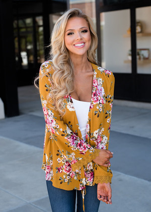 Floral Lace Trim Tie Open Cardigan Mustard CLEARANCE