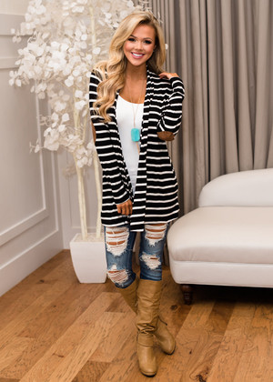 Striped Modal Spandex Elbow Patch Open Cardigan Black