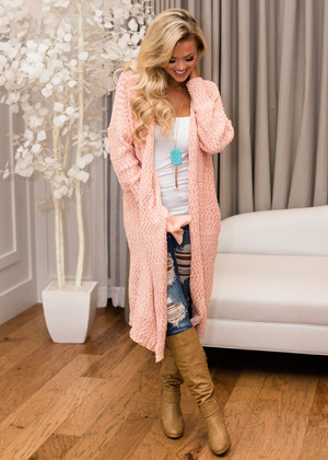 Amazing Knit Long Cardigan Pink