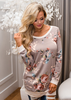 We Belong Together Floral Pullover Tunic Top Taupe