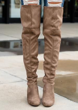 My Favorite Knee High Boots Taupe CLEARANCE