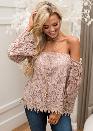 What a Response Off Shoulder Lace Top Mocha CLEARANCE