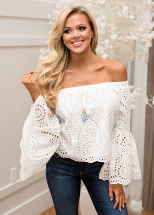 Together is Better Off Shoulder Eyelet Top White CLEARANCE