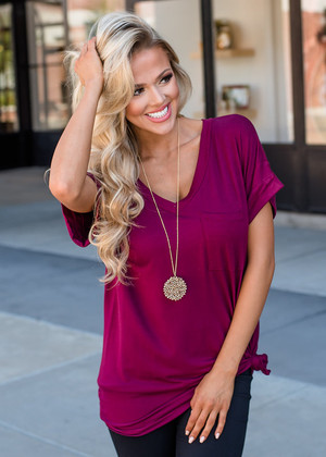 Solid Roll Up Sleeve Basic Pocket Tee Burgundy