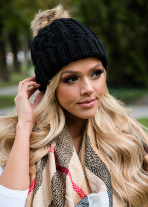 Cable Knit Black Fur Ball Beanie
