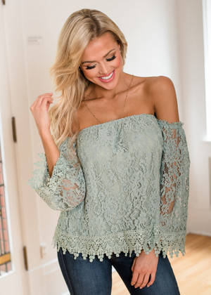 What a Response Off Shoulder Lace Top Sage CLEARANCE