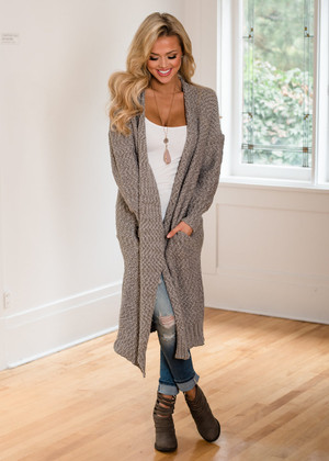 So Good Long Sweater Knit Cardigan Gray CLEARANCE