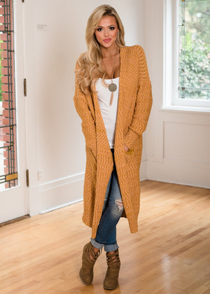 So Good Long Sweater Knit Cardigan Mustard CLEARANCE
