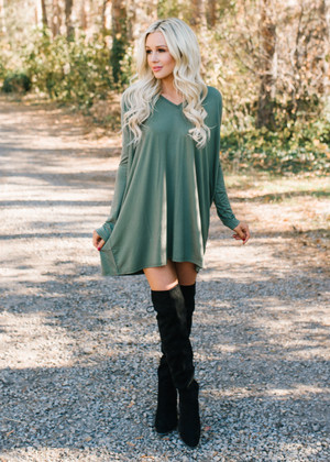 (Cyber Monday) Perfect Intentions Piko Bamboo Dress Olive