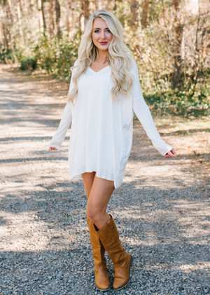 (Cyber Monday) Perfect Intentions Piko Bamboo Dress Off White