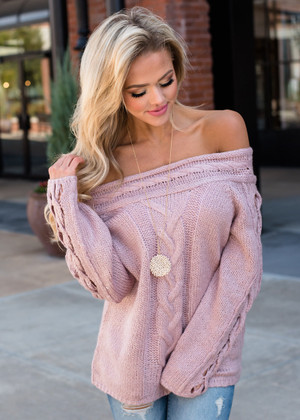 I Want You Off Shoulder Cable Knit Sweater Mauve