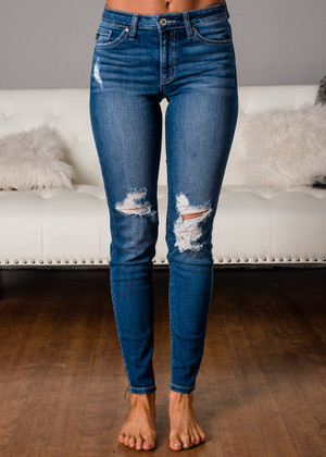 Suddenly It's Clear Distressed Jeans