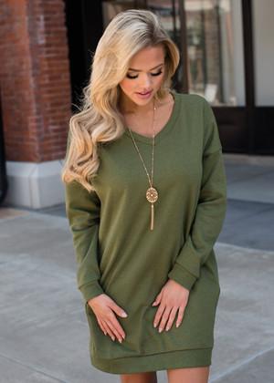 Wild About You Pocket Oversized Tunic Dress Olive