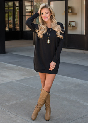 Wild About You Pocket Oversized Tunic Dress Black