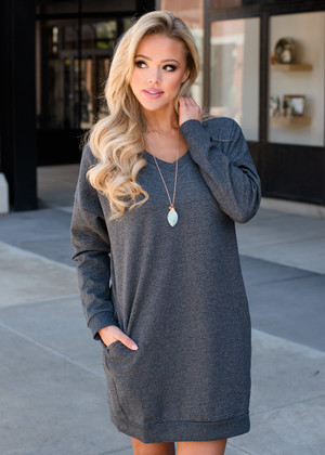 Wild About You Pocket Oversized Tunic Dress Charcoal