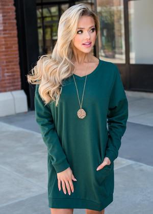 Wild About You Pocket Oversized Tunic Dress Hunter Green