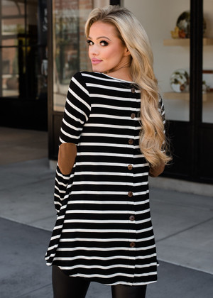 Stripe Elbow Patch Button Back Tunic Top Black
