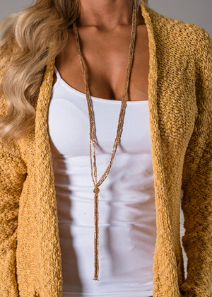 Many Beads Long Dangle Necklace Gold