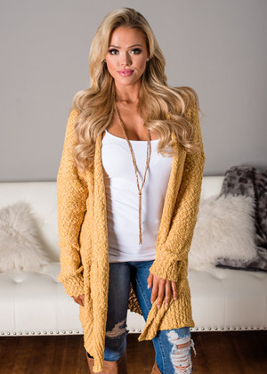 Meet Me Here Long Knit Cardigan Mustard CLEARANCE