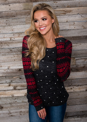 First Snow Fall Polka Dot Aztec Sweater