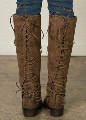 My Love Lace Up Boots Tan CLEARANCE