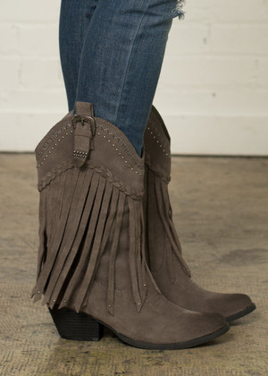 How You Doin' Gray Fringed Cowgirl Boots