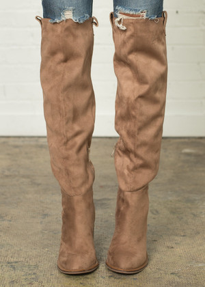 Comes In Waves Knee High Suede Boots Light Brown