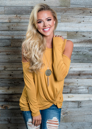 Twisty Open Shoulder Top Mustard