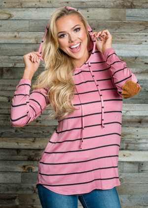 Striped Front Pocket Elbow Patch Hoodie Mauve CLEARANCE