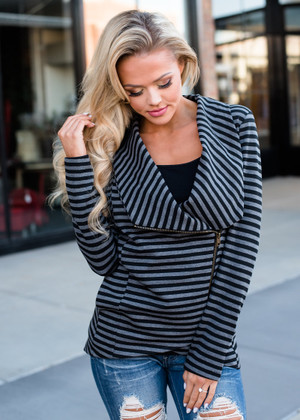 Completely Cozy Striped Jacket Charcoal