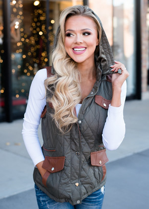 This Feels So Right Quilted Vest Olive CLEARANCE