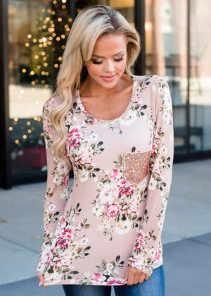 Pick Me Up Floral Top Taupe