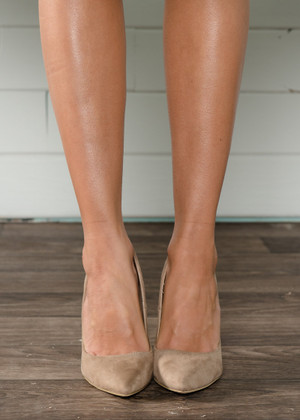 Suede Like Taupe Pointy Heels
