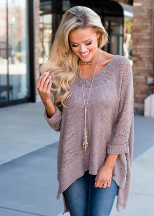 Afternoon Tea High Low Sweater Top Mocha
