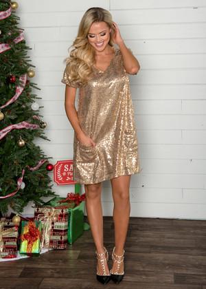 Secret Santa Gold Sequins Pocket Dress