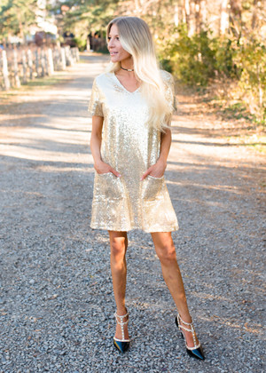 Secret Santa Gold Sequins Pocket Dress