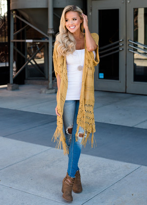 Let's Get Lost Knit Fringed Cardigan Mustard CLEARANCE