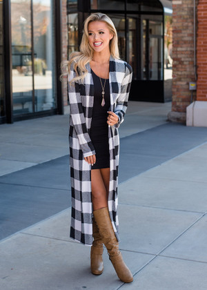 Check Me Out Long Checkered Cardigan Black/White