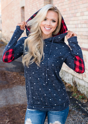 f073d08d0d79f0 Dashing Through The Snow Plaid Accent Hoodie Top