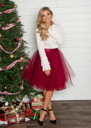 Flirty in Burgundy Tulle Skirt CLEARANCE